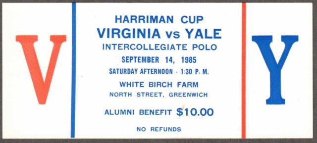 Ticket to the First Harriman Cup